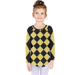 Square2 Black Marble & Yellow Watercolor Kids  Long Sleeve Tee