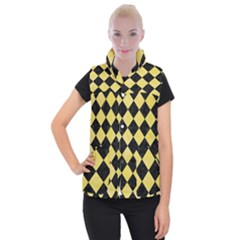 Square2 Black Marble & Yellow Watercolor Women s Button Up Puffer Vest