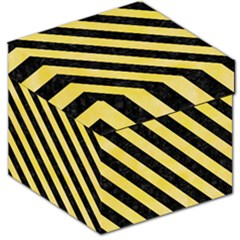 Stripes3 Black Marble & Yellow Watercolor Storage Stool 12   by trendistuff