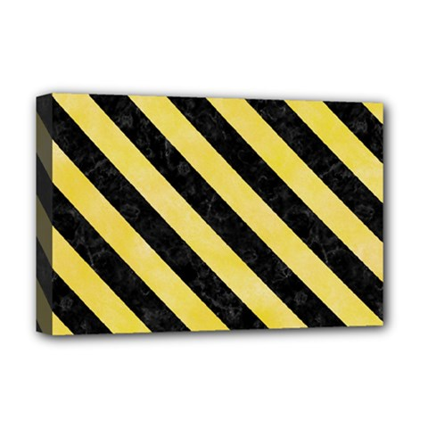 Stripes3 Black Marble & Yellow Watercolor Deluxe Canvas 18  X 12   by trendistuff