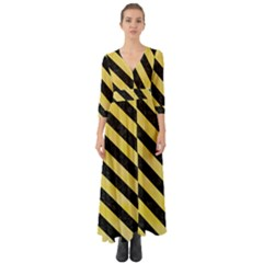 Stripes3 Black Marble & Yellow Watercolor Button Up Boho Maxi Dress