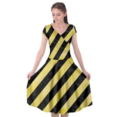 Stripes3 Black Marble & Yellow Watercolor (r) Cap Sleeve Wrap Front Dress