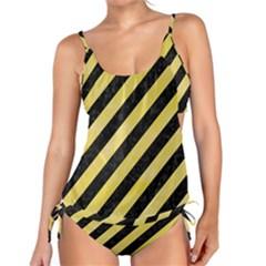 Stripes3 Black Marble & Yellow Watercolor (r) Tankini Set