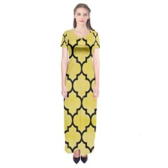 Tile1 Black Marble & Yellow Watercolor Short Sleeve Maxi Dress