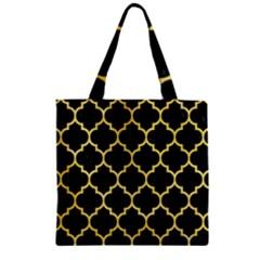 Tile1 Black Marble & Yellow Watercolor (r) Zipper Grocery Tote Bag by trendistuff