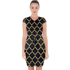 Tile1 Black Marble & Yellow Watercolor (r) Capsleeve Drawstring Dress