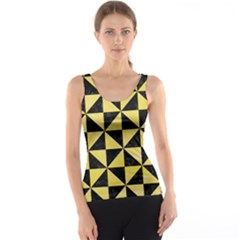 Triangle1 Black Marble & Yellow Watercolor Tank Top