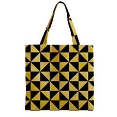 Triangle1 Black Marble & Yellow Watercolor Zipper Grocery Tote Bag by trendistuff