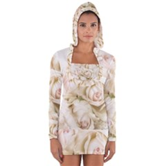 Pastel Roses Antique Vintage Long Sleeve Hooded T Shirt