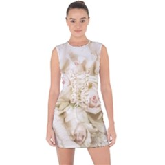 Pastel Roses Antique Vintage Lace Up Front Bodycon Dress