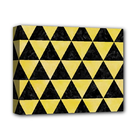 Triangle3 Black Marble & Yellow Watercolor Deluxe Canvas 14  X 11  by trendistuff