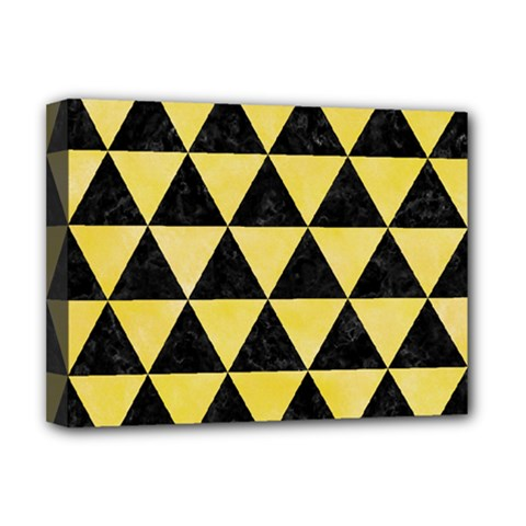 Triangle3 Black Marble & Yellow Watercolor Deluxe Canvas 16  X 12   by trendistuff