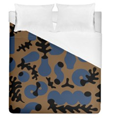 Superfiction Object Blue Black Brown Pattern Duvet Cover (queen Size) by Mariart