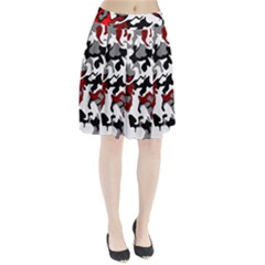 Vector Red Black White Camo Advance Pleated Skirt by Mariart