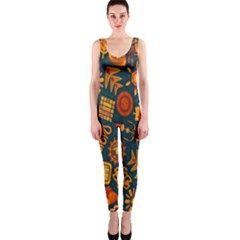 Tribal Ethnic Blue Gold Culture Onepiece Catsuit by Mariart