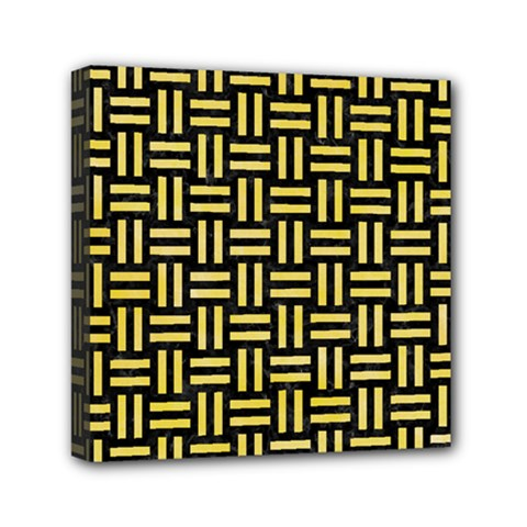 Woven1 Black Marble & Yellow Watercolor (r) Mini Canvas 6  X 6  by trendistuff