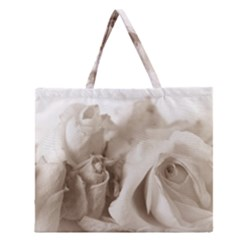 Vintage Rose Shabby Chic Background Zipper Large Tote Bag by Celenk
