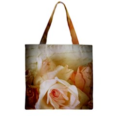 Roses Vintage Playful Romantic Zipper Grocery Tote Bag by Celenk