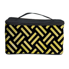 Woven2 Black Marble & Yellow Watercolor (r) Cosmetic Storage Case by trendistuff