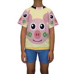 Luck Lucky Pig Pig Lucky Charm Kids  Short Sleeve Swimwear