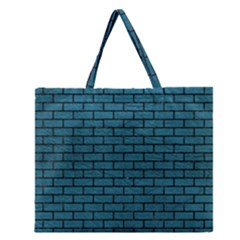 Brick1 Black Marble & Teal Leather Zipper Large Tote Bag by trendistuff