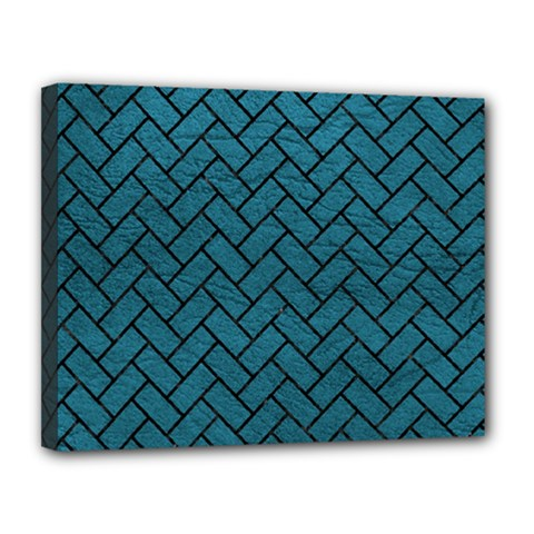 Brick2 Black Marble & Teal Leather Canvas 14  X 11  by trendistuff