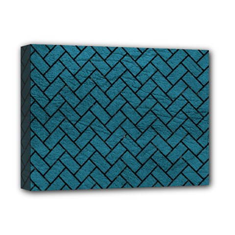 Brick2 Black Marble & Teal Leather Deluxe Canvas 16  X 12   by trendistuff
