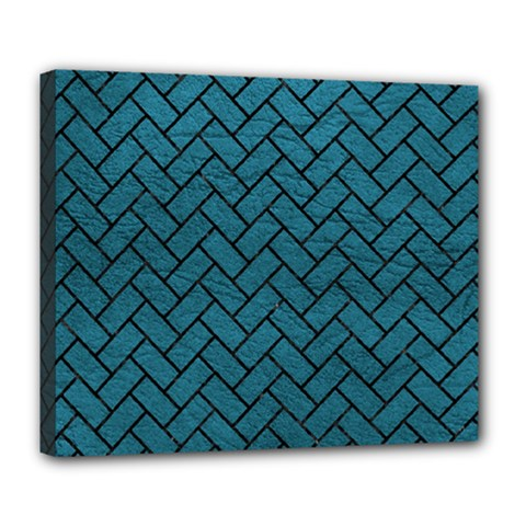Brick2 Black Marble & Teal Leather Deluxe Canvas 24  X 20   by trendistuff