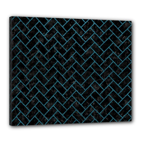 Brick2 Black Marble & Teal Leather (r) Canvas 24  X 20  by trendistuff