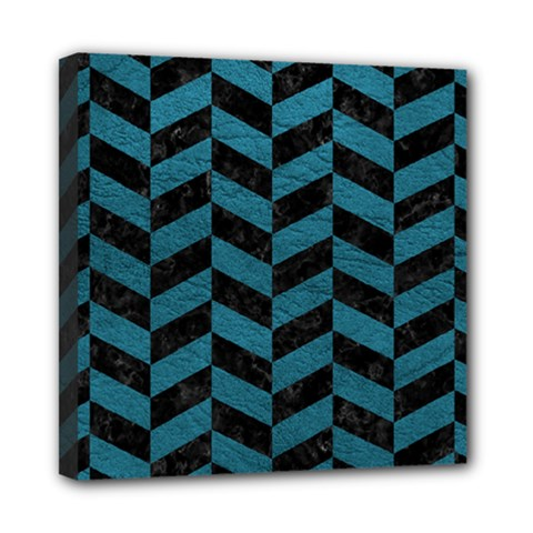 Chevron1 Black Marble & Teal Leather Mini Canvas 8  X 8  by trendistuff