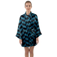 Chevron1 Black Marble & Teal Leather Long Sleeve Kimono Robe