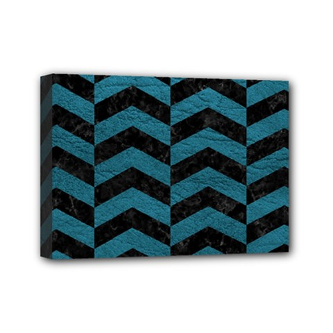 Chevron2 Black Marble & Teal Leather Mini Canvas 7  X 5  by trendistuff