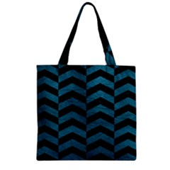 Chevron2 Black Marble & Teal Leather Zipper Grocery Tote Bag by trendistuff