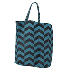 Chevron2 Black Marble & Teal Leather Giant Grocery Zipper Tote by trendistuff
