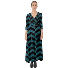 Chevron2 Black Marble & Teal Leather Button Up Boho Maxi Dress