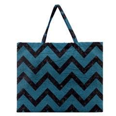 Chevron9 Black Marble & Teal Leather Zipper Large Tote Bag by trendistuff