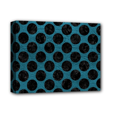 Circles2 Black Marble & Teal Leather Deluxe Canvas 14  X 11