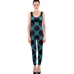 Circles2 Black Marble & Teal Leather Onepiece Catsuit by trendistuff