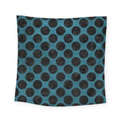 Circles2 Black Marble & Teal Leather Square Tapestry (small) by trendistuff