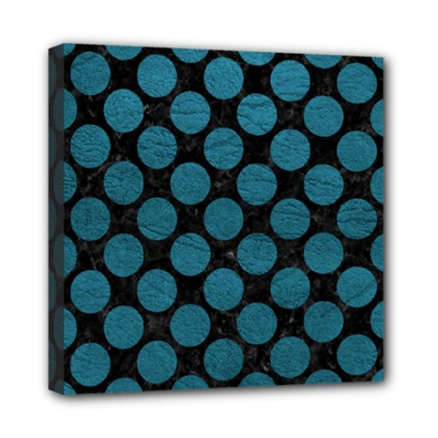 Circles2 Black Marble & Teal Leather (r) Mini Canvas 8  X 8  by trendistuff