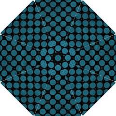Circles2 Black Marble & Teal Leather (r) Hook Handle Umbrellas (small) by trendistuff
