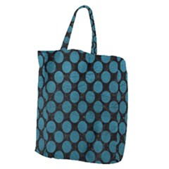 Circles2 Black Marble & Teal Leather (r) Giant Grocery Zipper Tote by trendistuff