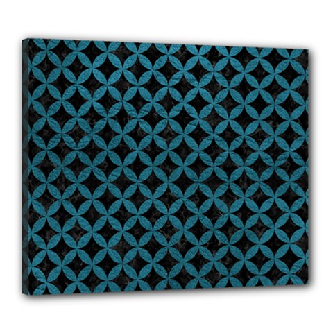 Circles3 Black Marble & Teal Leather (r) Canvas 24  X 20  by trendistuff