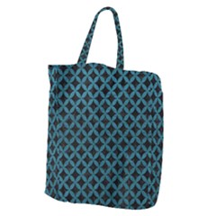 Circles3 Black Marble & Teal Leather (r) Giant Grocery Zipper Tote by trendistuff