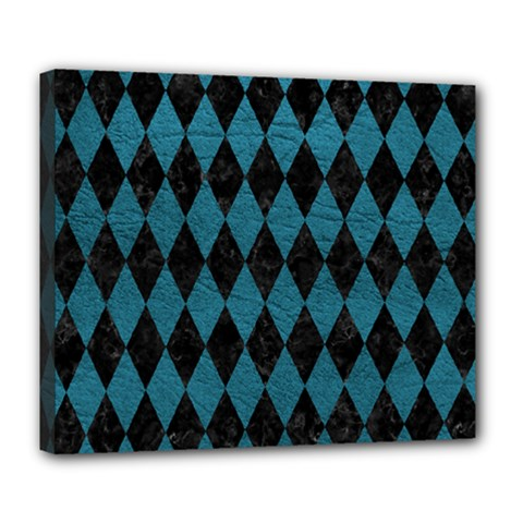 Diamond1 Black Marble & Teal Leather Deluxe Canvas 24  X 20   by trendistuff