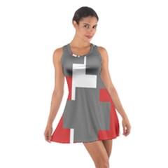 Cross Abstract Shape Line Cotton Racerback Dress