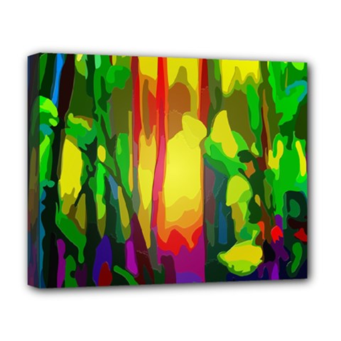 Abstract Vibrant Colour Botany Deluxe Canvas 20  X 16   by Celenk