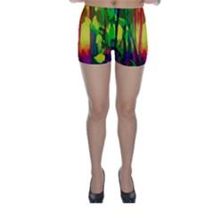 Abstract Vibrant Colour Botany Skinny Shorts