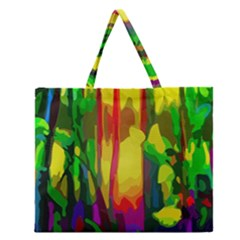 Abstract Vibrant Colour Botany Zipper Large Tote Bag by Celenk