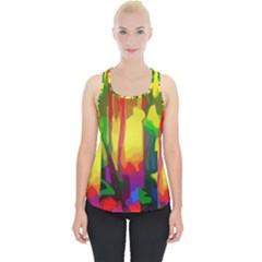 Abstract Vibrant Colour Botany Piece Up Tank Top